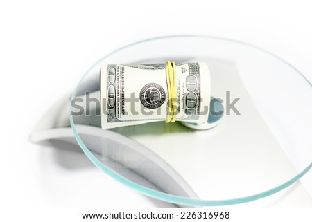 paper note dollars as part of the pay system - stock photo