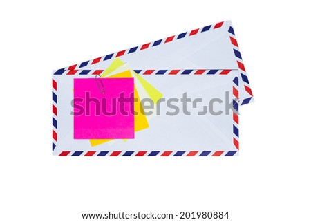 Paper note on airmail envelope isolated - stock photo