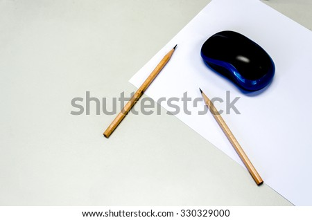 paper note pencil and computer mouse for business background