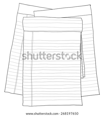 paper note vintage , paper sheets, lined paper line art - stock photo
