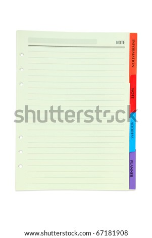 Paper note with color tab