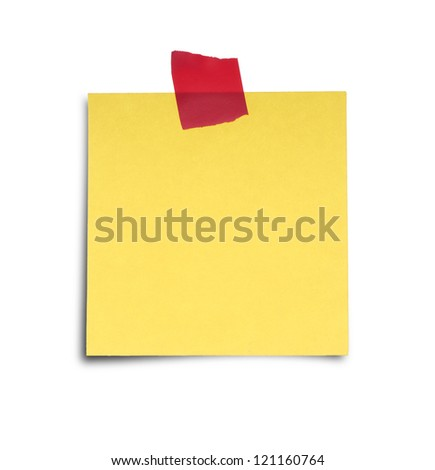Paper note with sticky tape isolated on white background - stock photo