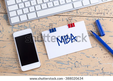 Paper note with text MBA - stock photo