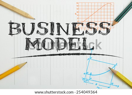 paper notebook with inscription business model , business concept - stock photo