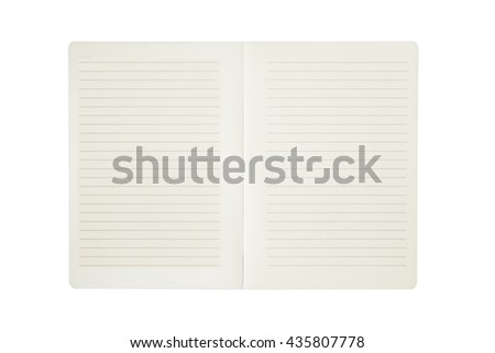 Paper notebook with line isolated on white background.