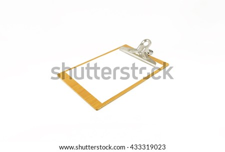 Paper notepad on wooden plate with pencil; white background