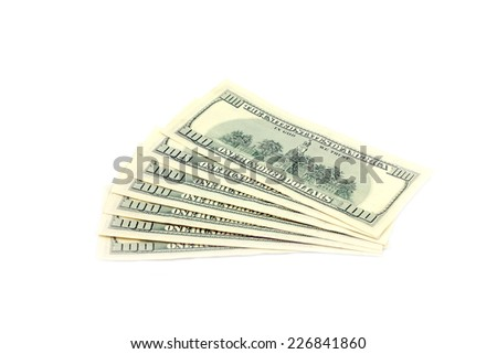 paper notes are dollars as element of the pay system - stock photo