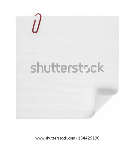 Paper notes with clip isolated on white