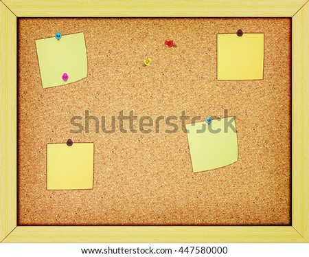 Paper on an cork notice board. Background. 3D illustration. Vintage style.