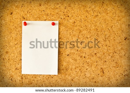 Paper on the cork board - stock photo