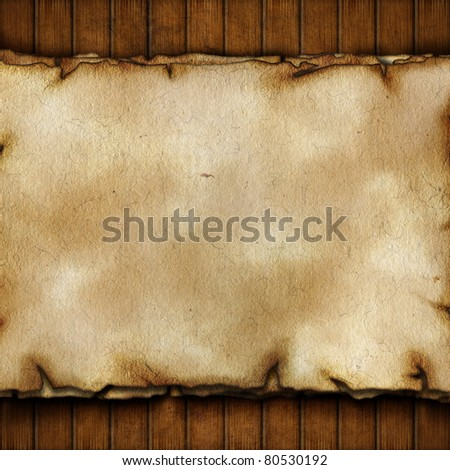 Paper on wooden planks - stock photo