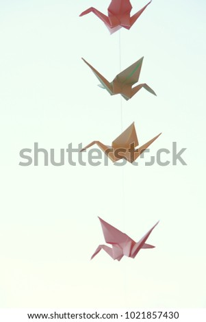 Paper Origami Cranes Garland Of Birds Hanging On Natural Background Soft Selective Focus