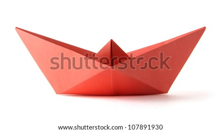 Paper origami red boat on the white background - stock photo