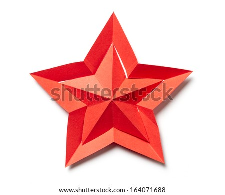 paper origami star isolated on white background - stock photo