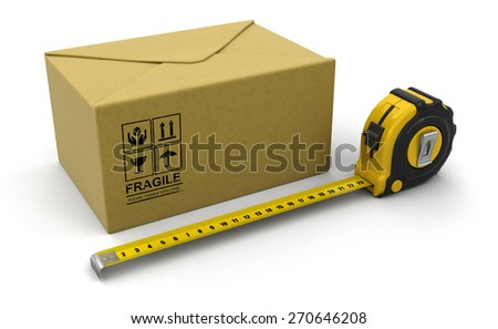 Paper Package  and ruler (clipping path included) - stock photo