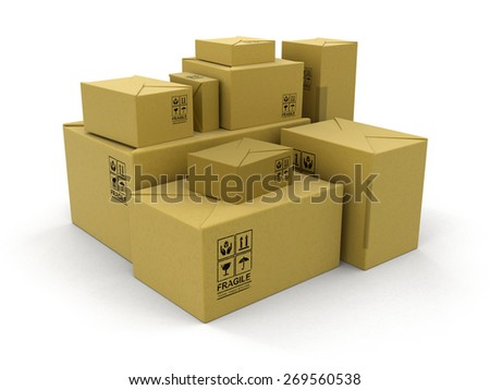 Paper Packages (clipping path included) - stock photo