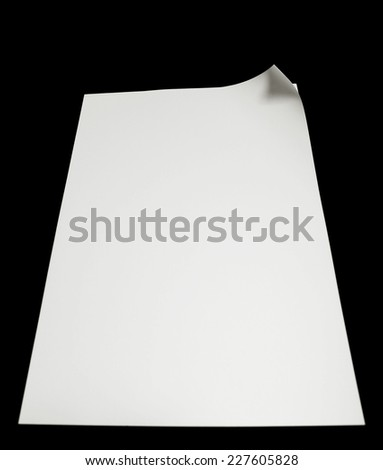 Paper page with curl, copy space for text. - stock photo