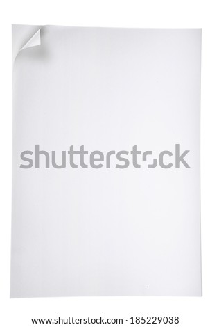 Paper page with curl on white. - stock photo