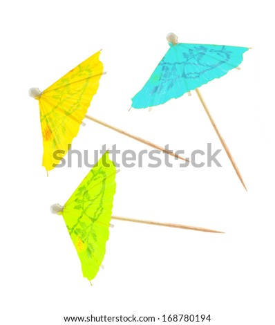 Paper party parasol isolated on white background . - stock photo