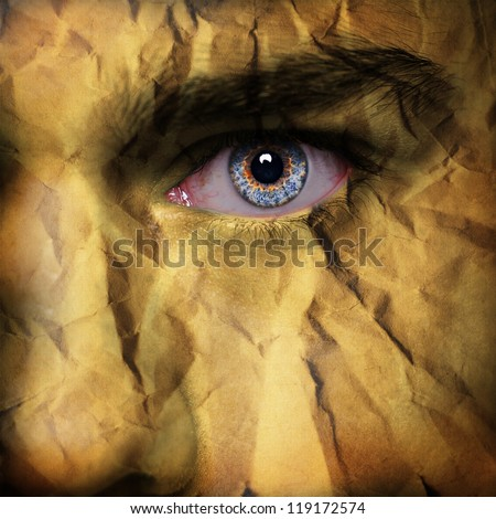 Paper pattern on man face - stock photo
