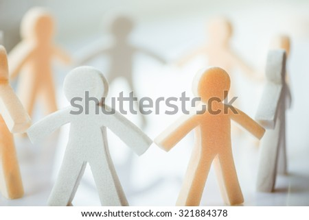 paper people chain - stock photo