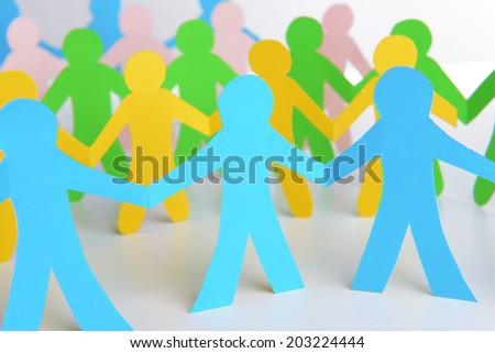 Paper people, close up - stock photo