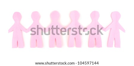 Paper people isolated on white - stock photo
