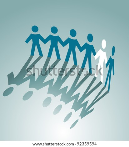 Paper peoples togetherness for communication or friendship concept design. Vector version also available in gallery - stock photo