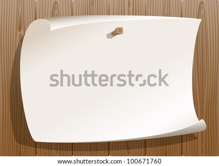 Paper pinned on wood background - stock photo