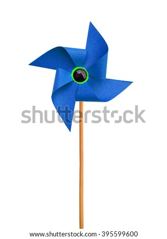 Paper pinwheel isolated on white background - stock photo