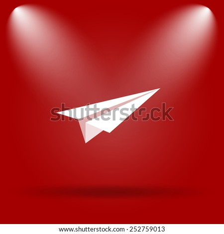 Paper plane icon. Flat icon on red background.