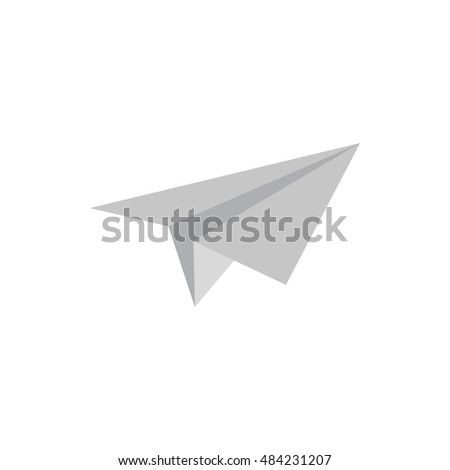 Paper plane icon in flat style isolated on white background. Toy symbol