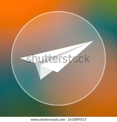 Paper plane icon. Internet button on colored  background.
