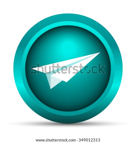 Paper plane icon. Internet button on white background.