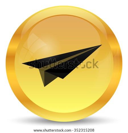 Paper plane icon. Internet button on white background. - stock photo