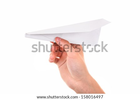 Paper Plane in a Hand Isolated On The White Background