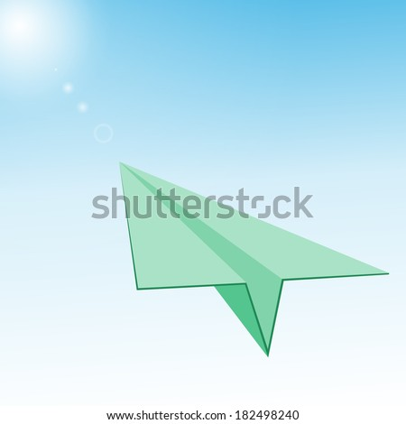 Paper Plane in  Blue Sky,  Sunlight.  - stock photo
