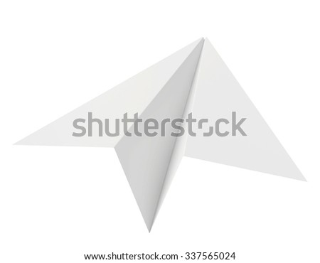 Paper plane. Isolated on white background. Clean 3d render.