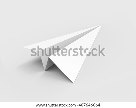 Paper plane isolated on white background. 3D illustration