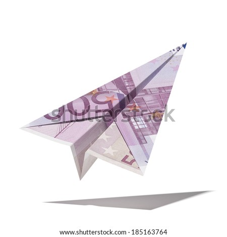 paper plane made with a euro bill - stock photo