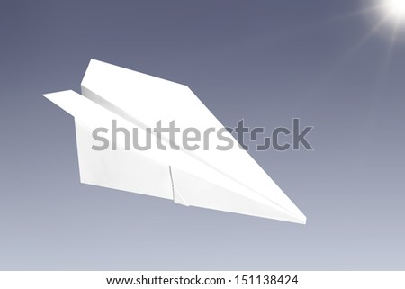 Paper plane on a gray background - stock photo
