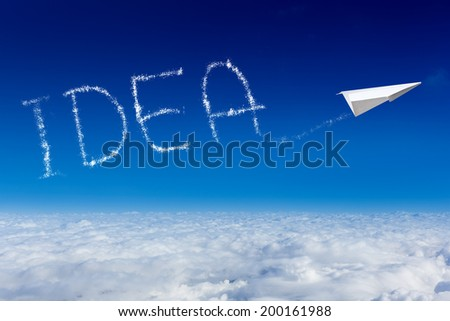 paper plane writing word idea as a cloud