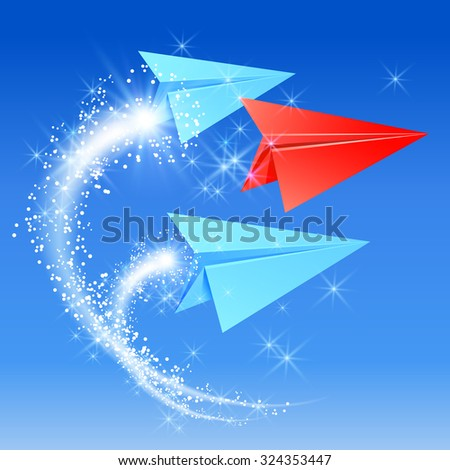Paper planes follow their leader. Sparkle fireworks.