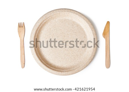 paper plate and woodeb fork and knife isolated on white background