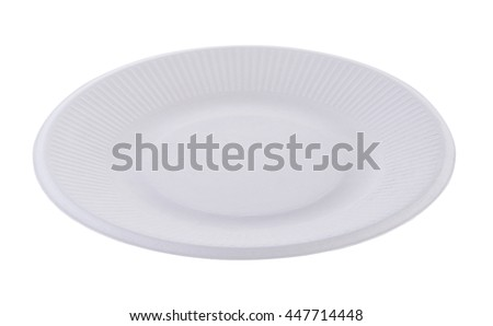 paper plate on white background - stock photo
