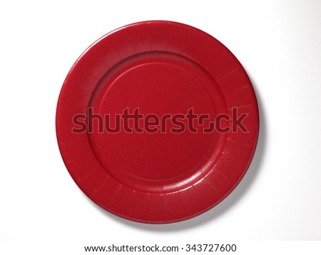 paper plate red - stock photo
