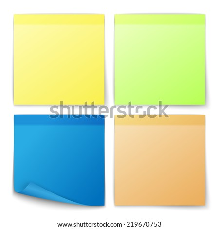 Paper post note colored memo stickers set isolated  illustration