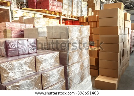 Paper products and goods storehouse with boxes
