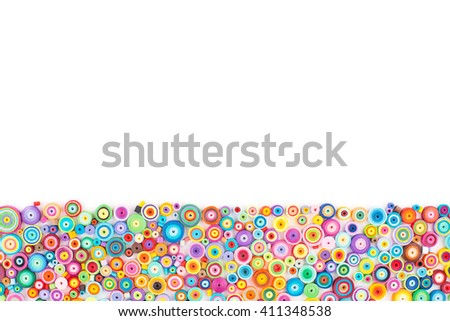 Paper quilling,colorful paper circles - stock photo