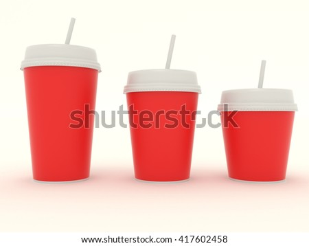 Paper red cup group set with a straw. Cardboard cup with clear template for design. High resolution 3d illustration